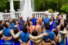 blue saris,indian bridesmaids,indian groomsmen,indian wedding photography session