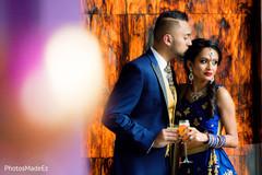 Indian bride and groom pre- wedding reception portrait.
