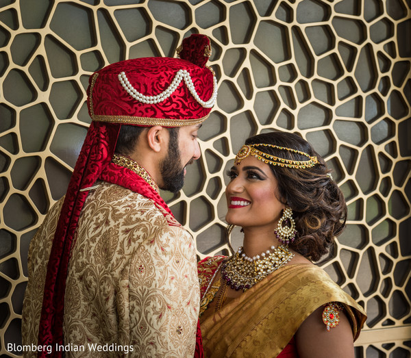 in love,indian couple,golden sherwani
