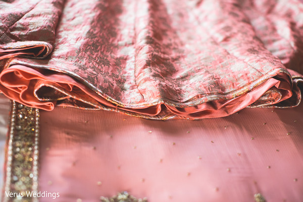 Pink Lengha Saree in San Jose, CA Indian Wedding by Naveed Ahmad Photography