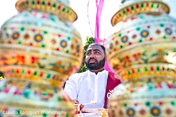 Indian Groom Portrait in Cancun, MX Indian Wedding by Claudia Rodriguez Wedding Photography