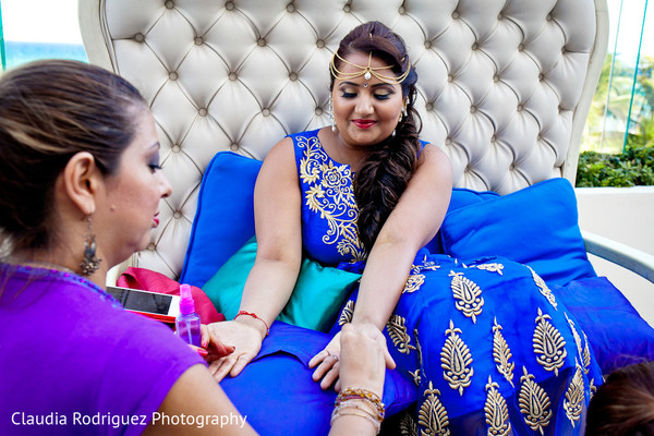 Bridal Henna in Cancun, MX Indian Wedding by Claudia Rodriguez Wedding Photography