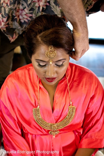 Bride Getting Ready in Cancun, MX Indian Wedding by Claudia Rodriguez Wedding Photography