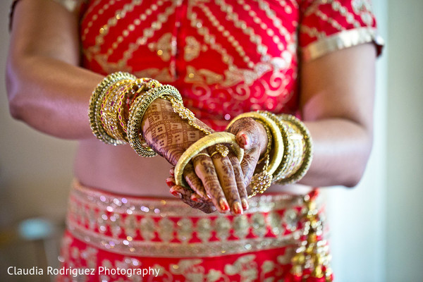 Red Bridal Lengha in Cancun, MX Indian Wedding by Claudia Rodriguez Wedding Photography