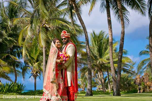 Bride and Groom Destination Portrait in Cancun, MX Indian Wedding by Claudia Rodriguez Wedding Photography