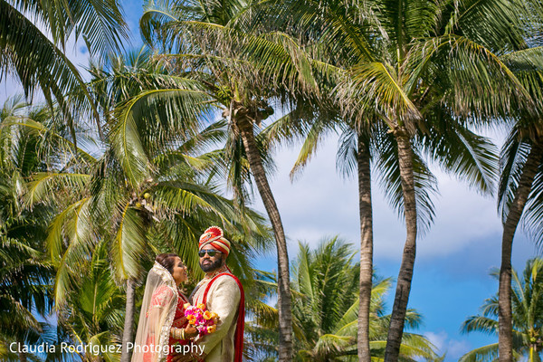 Indian Bride and Groom Portrait in Cancun, MX Indian Wedding by Claudia Rodriguez Wedding Photography