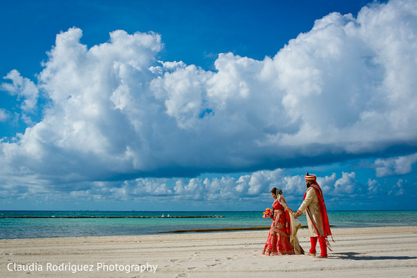 Indian Bride and Groom Destination Portrait in Cancun, MX Indian Wedding by Claudia Rodriguez Wedding Photography