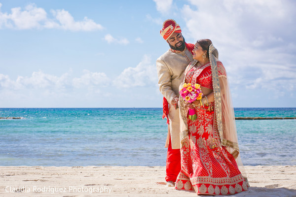 Bride and Groom Destination Wedding Portrait in Cancun, MX Indian Wedding by Claudia Rodriguez Wedding Photography