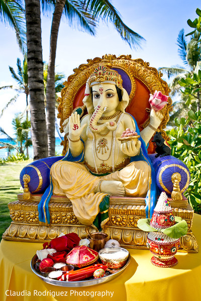Ganesh Decor in Cancun, MX Indian Wedding by Claudia Rodriguez Wedding Photography