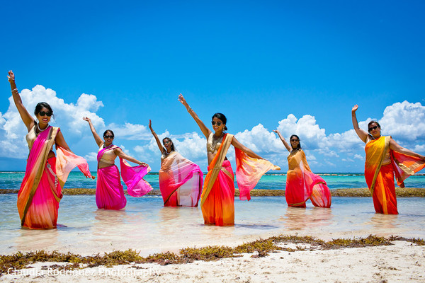 Bridesmaids Fashions in Cancun, MX Indian Wedding by Claudia Rodriguez Wedding Photography