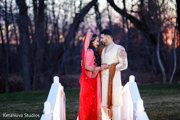 Bride and Groom Indian Wedding Day Portrait