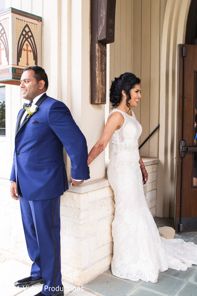 Bride and Groom First Look in Austin, TX Fusion Indian Wedding by A&A Video Productions