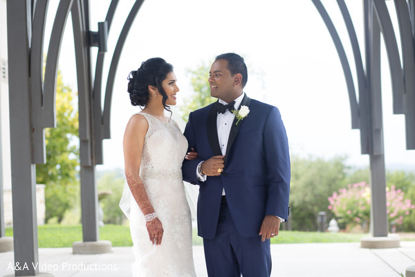 Bride and Groom Outdoor Photography in Austin, TX Fusion Indian Wedding by A&A Video Productions