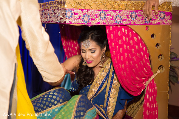 Bride at Pre-Wedding Celebration in Austin, TX Fusion Indian Wedding by A&A Video Productions