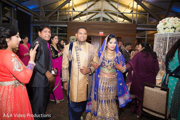 Bride and Groom Reception Portrait in Austin, TX Fusion Indian Wedding by A&A Video Productions