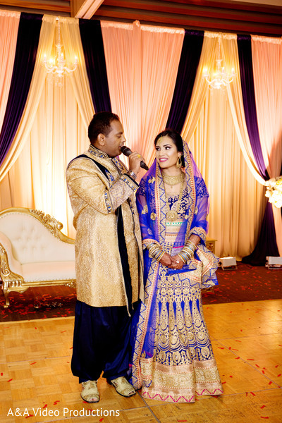 Indian Bride and Groom Reception Portrait in Austin, TX Fusion Indian Wedding by A&A Video Productions