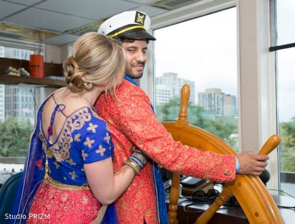 captain groom,indian groom,boat sangeet,boat,sangeet venue,fusion sangeet,sangeet on a boat,sailor groom,sailor
