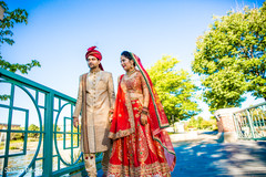 Stunning indian couple ready in their wedding ceremony attires.