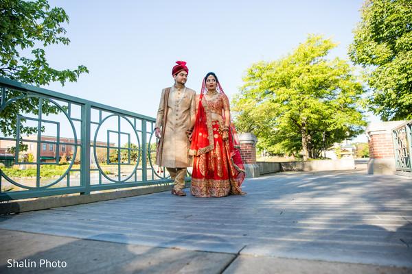 Indian bride and groom outdoor portrait.