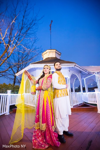 Indian Bride and Groom Mehndi Night Portrait