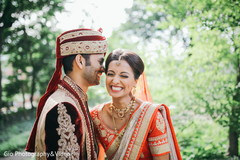 Indian bride and groom sweet moment.
