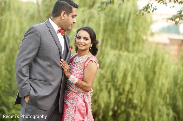 Indian bride and groom portrait. in Herndon, VA Indian Wedding by Regeti's Photography