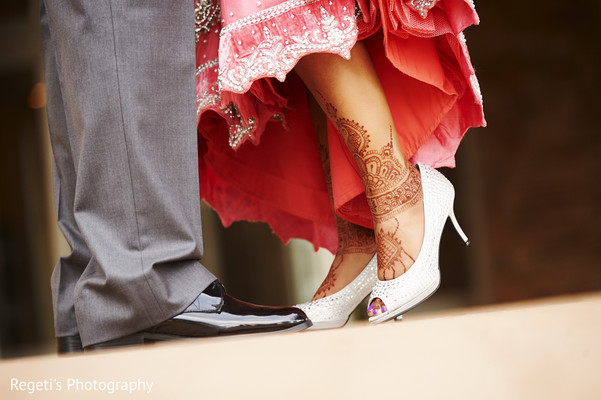 Stunning silver sparkling bridal shoes. in Herndon, VA Indian Wedding by Regeti's Photography