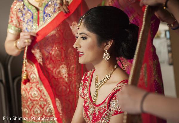 indian bridal hair and makeup,maharani,indian bride getting ready