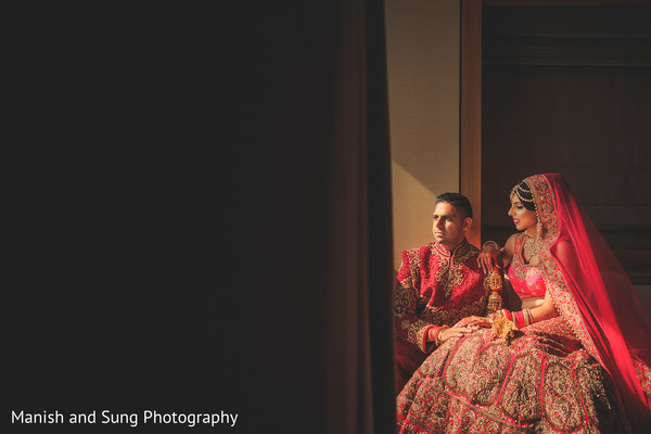 Regal portrait of south asian groom and bride