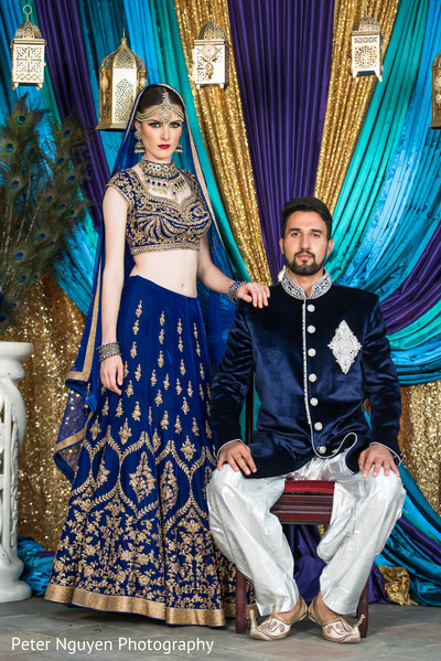 Blue and Gold Bridal Lengha