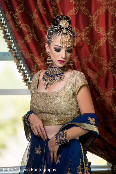 Blue and Gold Wedding Lengha