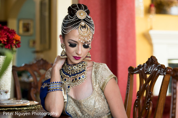 Indian Bride with Blue and Gold Wedding Choker
