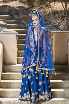 Blue and Gold Indian Bridal Lengha
