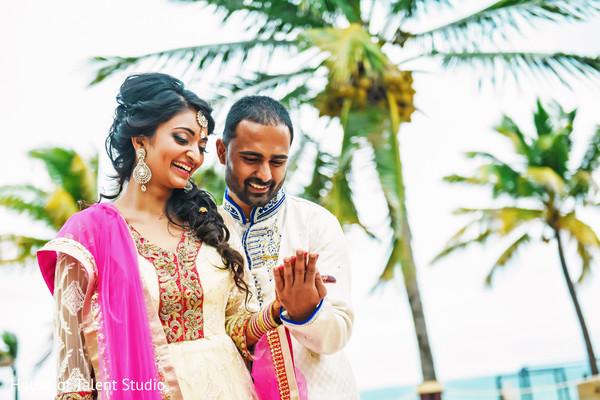 indian bride and groom,indian wedding day portrait,bride and groom outdoors,indian fusion wedding day portrait,indian bride and groom beach side wedding