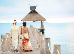 indian bride and groom,indian wedding day portrait,bride and groom outdoors,indian fusion wedding day portrait,indian bride and groom beachside,indian bride and groom at beachside indian wedding