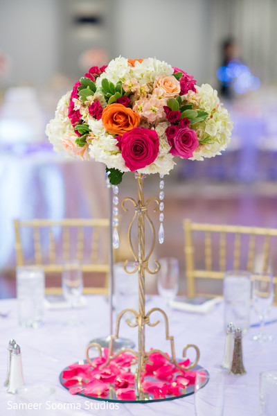 indian weddings,floral centerpieces