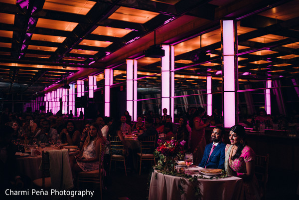 Purple lighting Indian reception in New York City, NY, Indian Wedding by Charmi Peña Photography