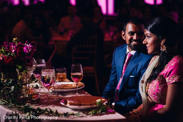 South Indian wedding reception portrait in New York City, NY, Indian Wedding by Charmi Peña Photography