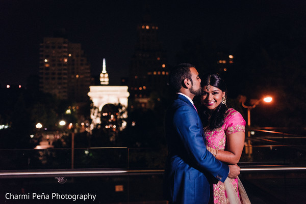 Bride and groom outdoor photography in New York City, NY, Indian Wedding by Charmi Peña Photography