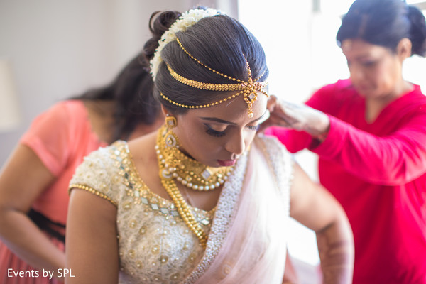 South asian bride getting ready