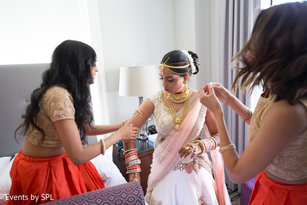 South asian bride with bridesmaids