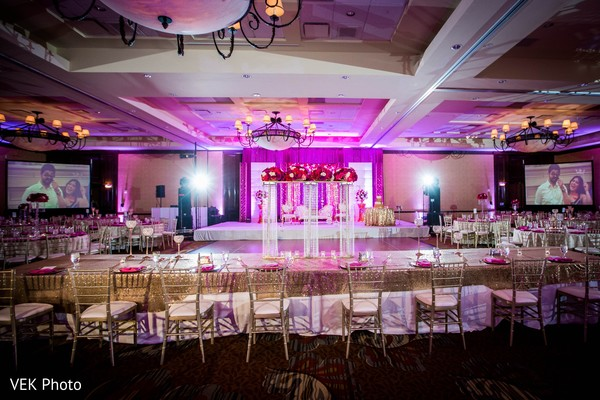Gold and bright pink wedding decor