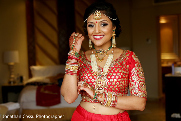 indian bride,indian wedding portrait,indian bridal fashions,bride wearing red lengha