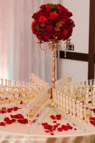 indian wedding reception,floral centerpieces