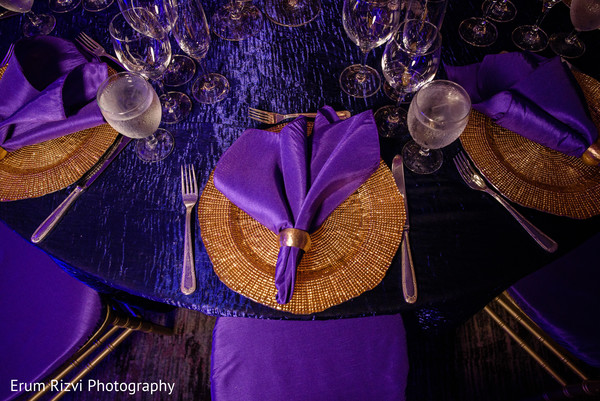 Wedding reception table set up.