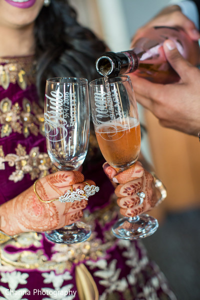 Indian Bride and Groom Champagne Toast