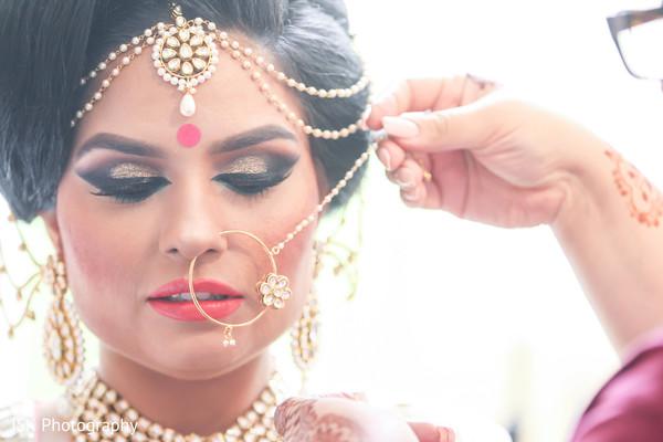 Bridal portrait - matha patti and nathni jewelry