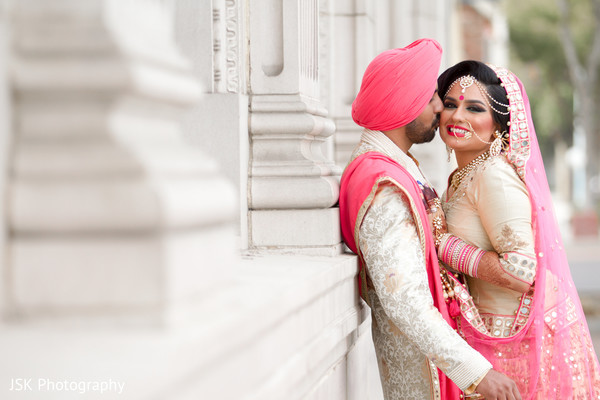 Sikh bride and groom outdoor portrait