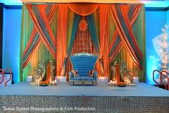 indian sangeet,indian wedding decorations,pre-wedding d?cor,pre-wedding decorations,orange and blue sangeet decor