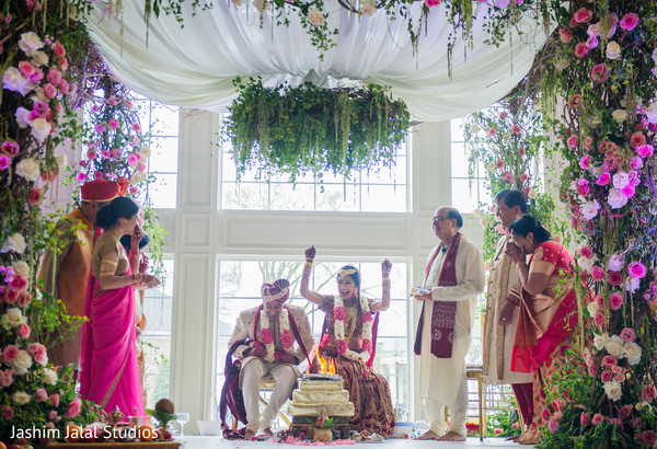 Indian Bride and Groom Wedding Ceremony Portrait